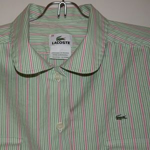 Lacoste Tops - Lacoste Pink Green Striped Button Down Shirt